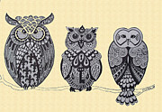Owls Drawings - Three Owls on a Branch by Karen Larter