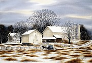 Amish Buggy Paintings - Through Snow Covered Pastures by Chad Buffington