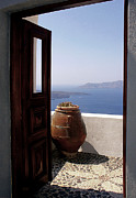 Greek Islands Framed Prints - Through This Door Framed Print by Julie Palencia