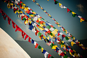 Tibetan Buddhism Posters - Tibetan Buddhist Prayer Flags stupa Boudnath Poster by Raimond Klavins