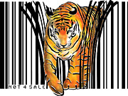 Sassan Filsoof Framed Prints - Tiger barcode Framed Print by Sassan Filsoof