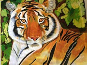 Silk Paintings - Tiger face by Serendipitous Silks Fine Art