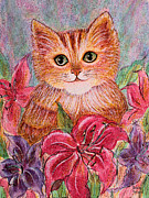 Colorful Floral Gardens Paintings - Tiger Puff by Natalie Holland