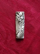 Portrait Jewelry - Tiger scrimshaw by Paul Holbrecht