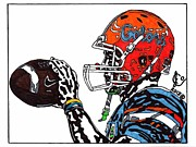Player Drawings Posters - Tim Tebow 4 Poster by Jeremiah Colley