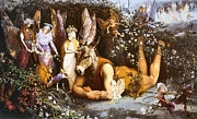 Donkey Digital Art Metal Prints - Titania And Bottom Metal Print by John Anster Fitzgerald