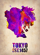 World Map Digital Art Metal Prints - Tokyo Watercolor Map 2 Metal Print by Irina  March