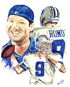 Emmitt Smith Framed Prints - Tony Romo Framed Print by Israel Torres