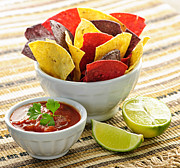 Dipping Posters - Tortilla chips and salsa Poster by Elena Elisseeva