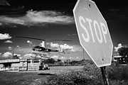 Stop Sign Prints - Tourist Light Helicopter Landing Behind Stop Sign Kissimmee Florida Usa Print by Joe Fox