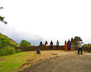 Sitting On Hill Digital Art Prints - Tourists posing for photos Print by Ashish Agarwal
