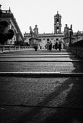 Michaelangelo Prints - tourists walk on the Cordonata steps Michelangelo designed teps leading up to the Campidoglio Rome Lazio Italy Print by Joe Fox