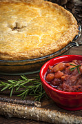 Cranberry Photo Prints - Tourtiere meat pie Print by Elena Elisseeva