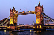 Landmark Art - Tower bridge in London at dusk by Elena Elisseeva