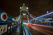 Night Scene Prints - Tower Bridge London Print by Donald Davis
