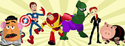 Pixar Digital Art - Toy Story Avengers by Lisa Leeman