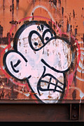 Graffitti Prints - Train Art Cartoon Face Print by Carol Leigh