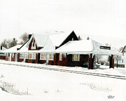 Snow Scenes Drawings Prints - Train Depot Print by William Howard