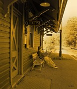 Old Train Photos - Train Station by Val Arie