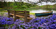 Benches Prints - Tranquility Print by Debra and Dave Vanderlaan