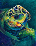 Sea Turtles Painting Metal Prints - Tranquility Metal Print by Scott Spillman