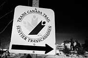 Sask Prints - trans canada trail sign in downtown Saskatoon Saskatchewan Canada Print by Joe Fox
