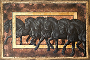 Black Stallions Prints - Transitions Print by Inge Manders