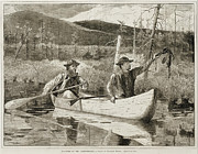 Trapping In The Adirondacks Print by Winslow Homer