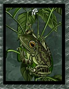Frog Mixed Media Posters - Tree Frog Poster by Karen Sheltrown