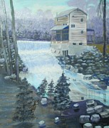 Grist Mill Paintings - Trenton Grist Mill by Linda Bright Toth