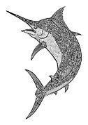 Marlin Drawings - Tribal Black Marlin by Carol Lynne