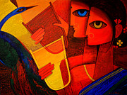 Tribal Art Gallery Paintings - Tribal Women by Jiaur Rahman
