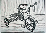 Linocut Linoluem Drawings - Tricycle by William Cauthern