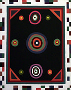 Op Art Painting Posters - Trigonomical Tribal Poster by Clayton Reynolds