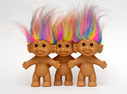 Row Framed Prints - Trio of Troll Dolls Framed Print by Amy Cicconi