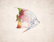 Animal Drawings Posters - Tropical Fish Drawing Poster by World Art Prints And Designs