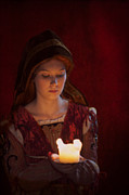 Candle Lit Prints - Tudor Medieval Woman Holding A Candle Print by Lee Avison