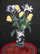 Art Quilts Tapestries Textiles Prints - Tulips and Irises Print by Lynda K Boardman