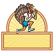Run Digital Art Metal Prints - Turkey Run Runner Side Cartoon Isolated Metal Print by Aloysius Patrimonio