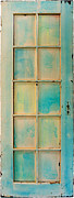 Wooden Sculpture Metal Prints - Turquoise and Pale Yellow Panel Door Metal Print by Asha Carolyn Young