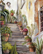 Italian Villas Paintings - Tuscan Steps by Melinda Saminski