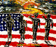 Star Spangled Banner Painting Metal Prints - Twilights Last Gleaming Metal Print by Mark Moore