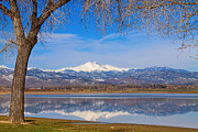 Rockies Art - Twin Peaks Longs and Meeker Lake Reflection by James Bo Insogna