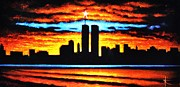 Twin Towers Trade Center Painting Metal Prints - Twin Towers Metal Print by Thomas Kolendra