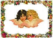 Cards Vintage Framed Prints - Two Angels Framed Print by Munir Alawi