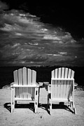 Recliners Framed Prints - Two Empty Sun Loungers On Private Beach Islamorada Florida Keys Usa Framed Print by Joe Fox
