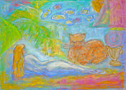 Nature Scene Pastels Prints - Two Felines Print by Barbara Anna Knauf