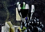 Bar Photo Originals - Two glasses of red wine a cammembert by Tommy Hammarsten