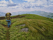 Hiker Paintings - Two paths diverged on a bald and sorry I could not travel both by Ann Holder