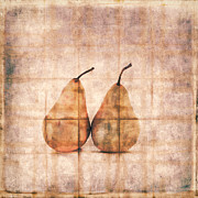 Brown Pears Framed Prints - Two Yellow Pears on Folded Linen Framed Print by Carol Leigh